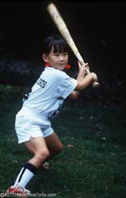 Girl playing baseball; Actual size=180 pixels wide